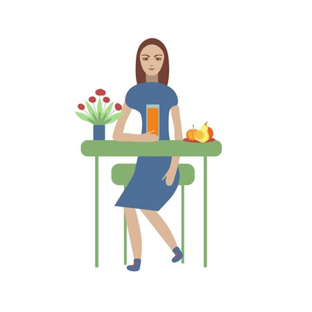 Girl with fruits and juice illustration