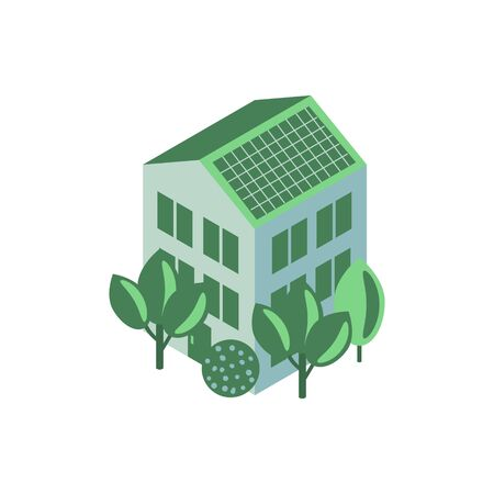 House with solar panel, green energy illustration Archivio Fotografico - 139263162