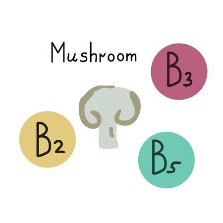 Button mushroom vector vitamin source
