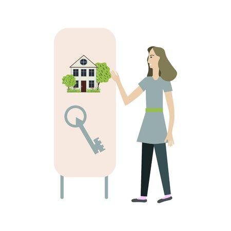 Real estate consultant businesswoman illustration