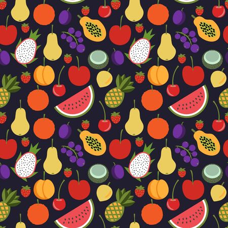 Seamless flat fruits vector pattern 向量圖像