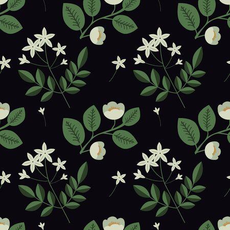 Seamless jasmine and tea plant pattern