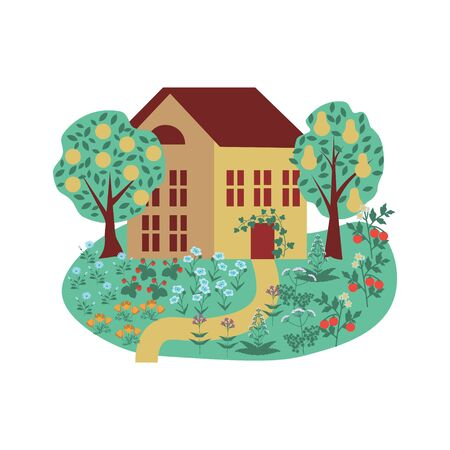 Permaculture vector illustration with ouse and garden