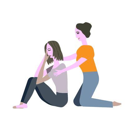 Girl comforts a girl vector illustration