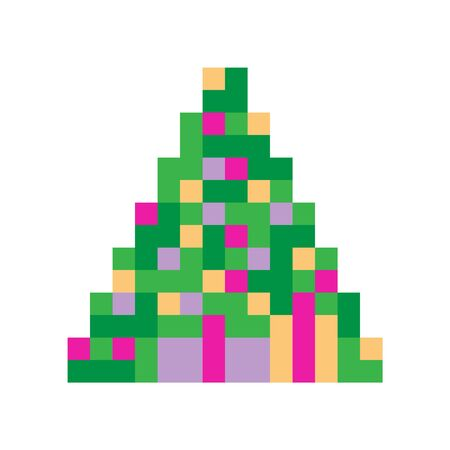 New year tree pixel icon