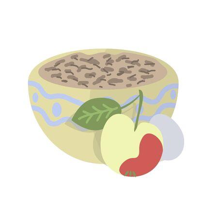 Breakfast vector illustration, porridge, egg and apple