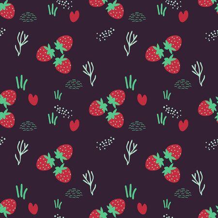 Seamless strawberry decorative vector pattern