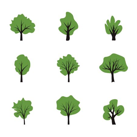 Simple flat vector trees collection
