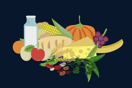 Healthy food items vector illustration