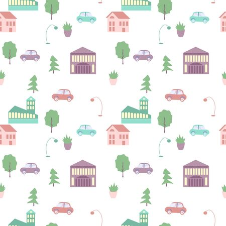 Seamless city elements vector pattern