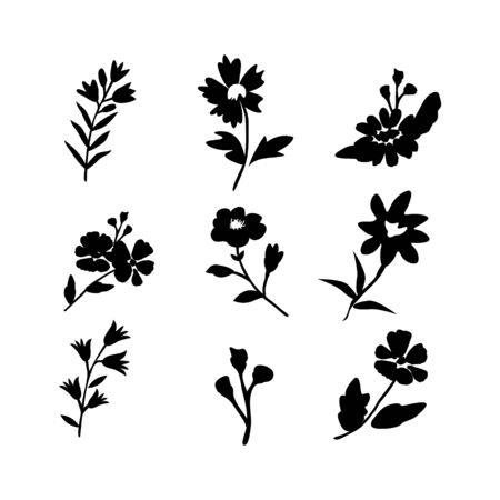 Vector flowers isolated icons collection Векторная Иллюстрация