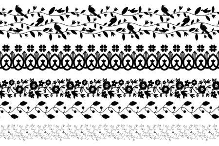 Black and white floral borders set Ilustração