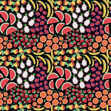 Seamless colorful decorative fruits pattern