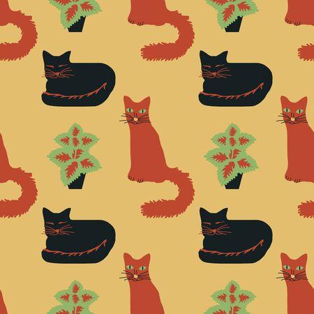 Seamless cats vector decorative pattern Ilustração