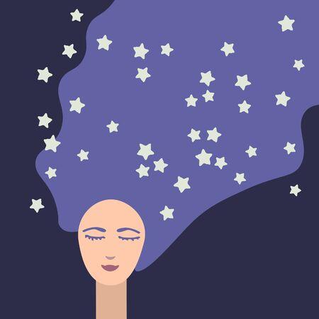 Dreaming girl at night illustration
