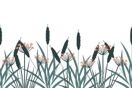 Wetland plants seamless vector background Ilustração