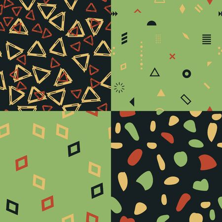 Seamless geometric patterns decorative set