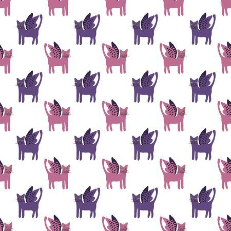Cats with wings seamless pattern Ilustração