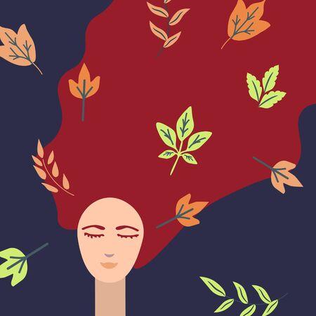 Dreaming girl illustration autumn illustration