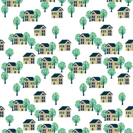 Simples seamless village pattern Ilustração