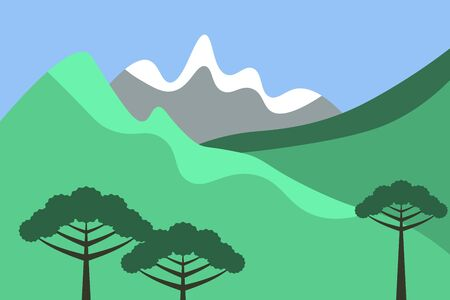 Chile landscape vector background with araucarias