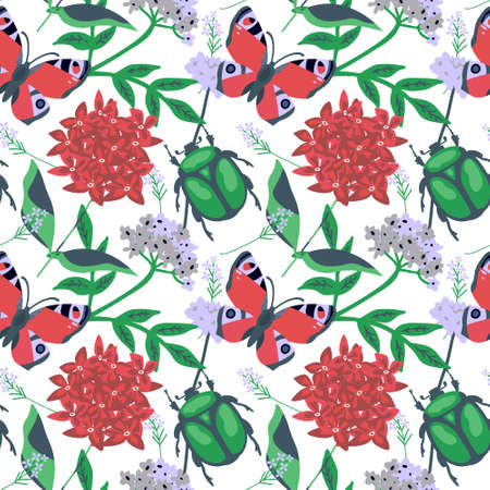 Seamless floral pattern with peacock butterfly and flower chafer