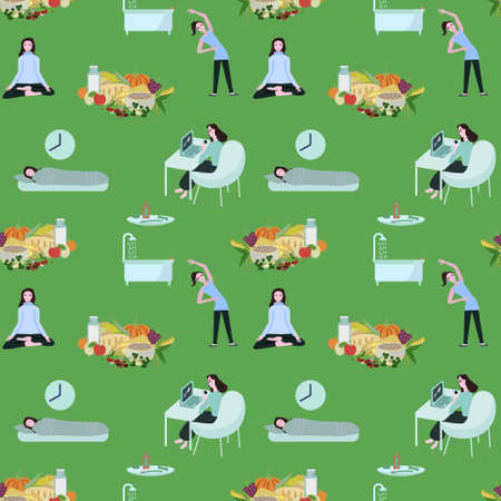 Healthy lifestyle elements vector pattern