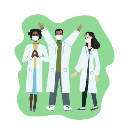 Happy medical workers vector illustration