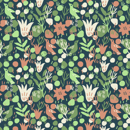 Seamless decoraive vector pattern with birds and flowers
