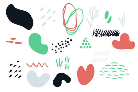 Abstract vector shapes elements set Ilustração