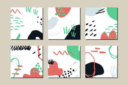 Abstract shapes vector cards set