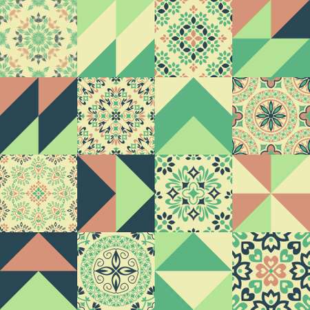 Seamless geometric and abstract floral patterns patchwork Ilustração