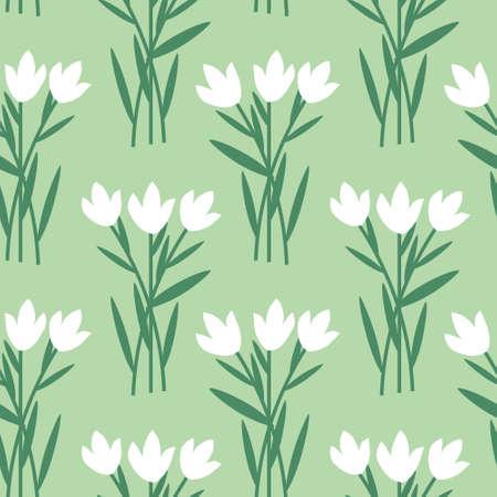 Seamless decorative white floral pattern