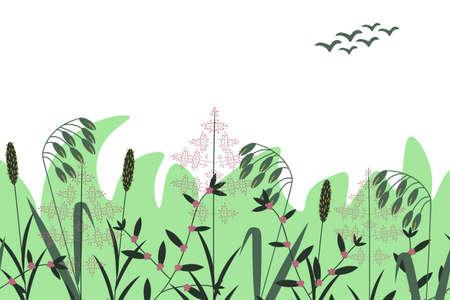 Summer botanical vector floral background Ilustração