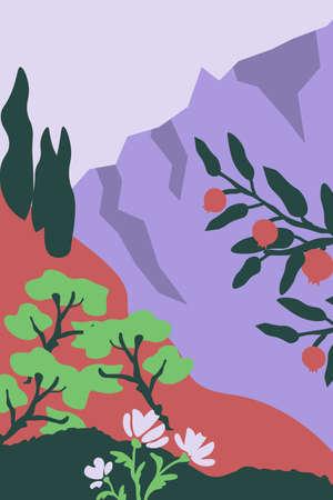 Vector mountain landscape simple illustration