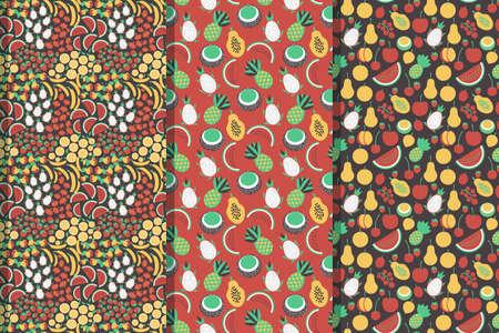 Fruits decorative vector patterns set Ilustração
