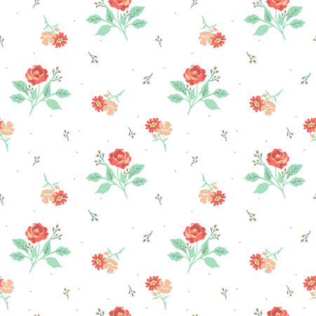 Seamless pink decorative ditsy pattern Ilustração