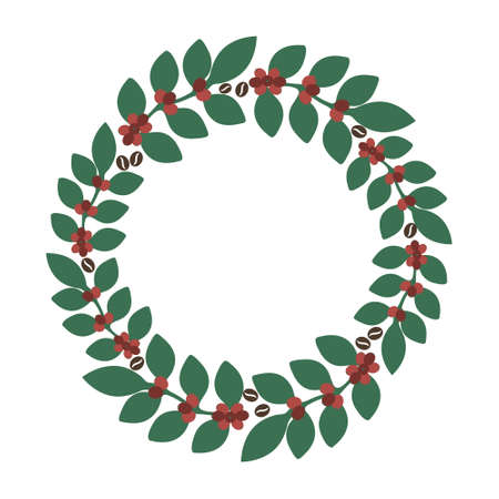 Coffee branches isolated vector wreath