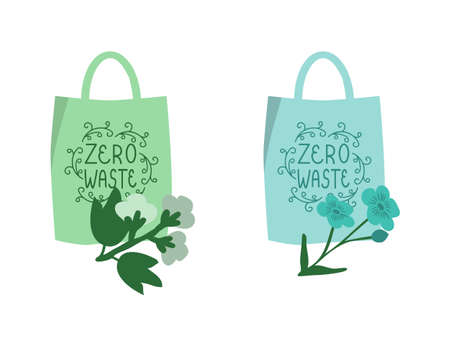 Reusable bags icons with cotton and flax branches