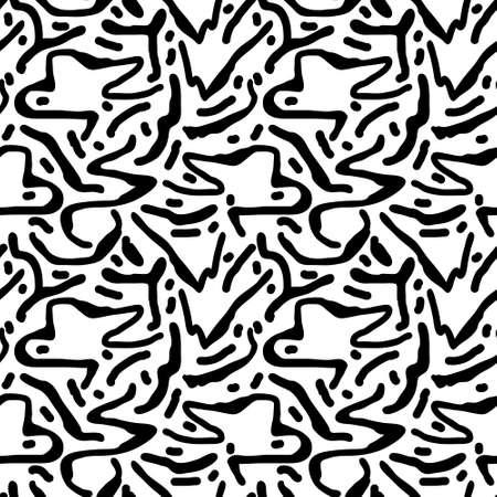 Blak and white hand drawn pattern Ilustração