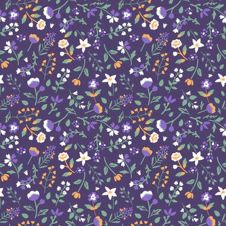 Seamless pattern with decorative tiny flowers Ilustração