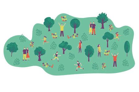 Park and people walking vector illustration Ilustração