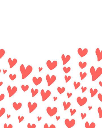 Red hearts background on the white Ilustração