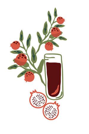 Pomegranate juice contemporary vector illustration