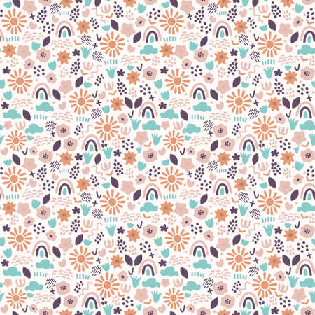 Contemporary seamless pattern with various elements