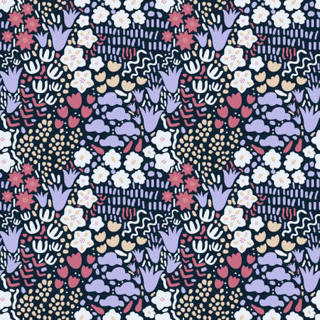 Seamless ditsy decorative floral pattern