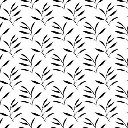 Seamless black and white foliage pattern Ilustração