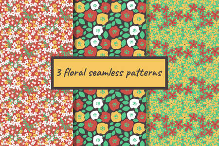 Seamless ditsy decorative floral patterns