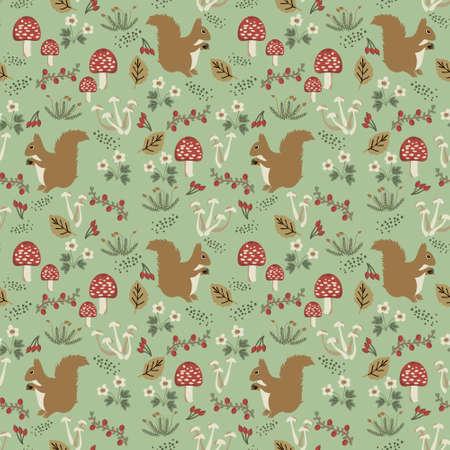 Seamless squirrel, mushrooms and berries pattern