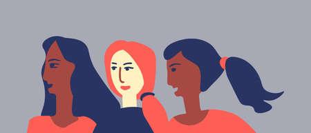Amazed multicultural women vector illustration